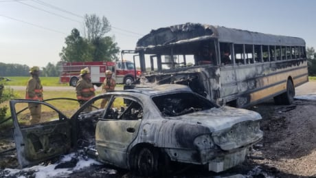 Norfolk man dead after crash that caused car and bus to burst into flames: OPP