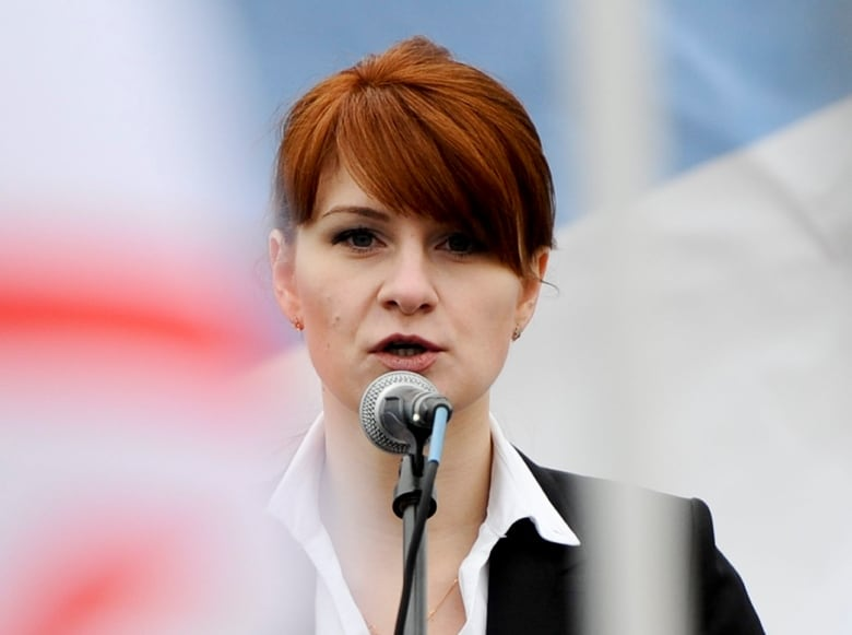 In this photo taken on Sunday, April 21, 2013, Butina speaks to a crowd during a rally in support of legalizing the possession of handguns in Moscow. (Associated Press)