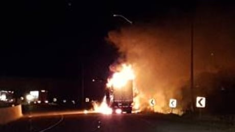 highway 401 freezie truck fire closed