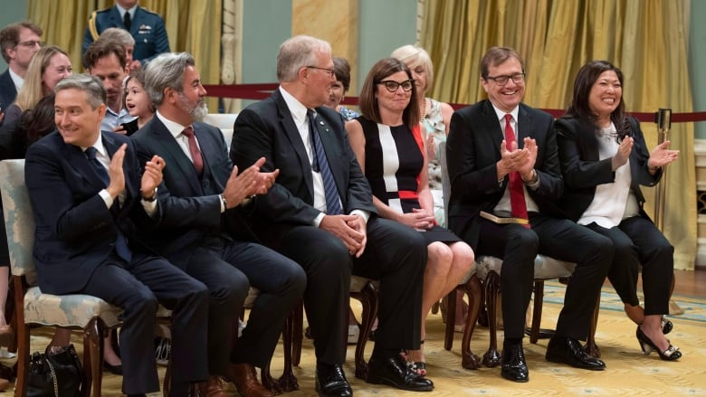 Francois Philippe Champagne Pablo Rodriguez Bill Blair Filomena Tassi Jonathan Wilkinson And Mary Ng Attend A Swearing In Ceremony At Rideau Hall In
