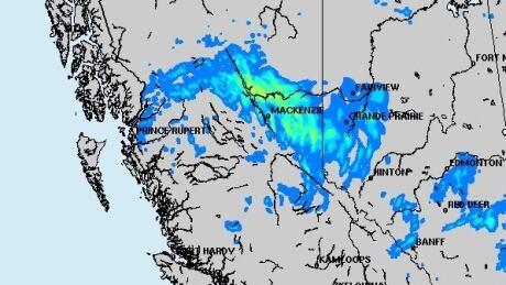 Rainfall map B.C. peace region July 20 2018