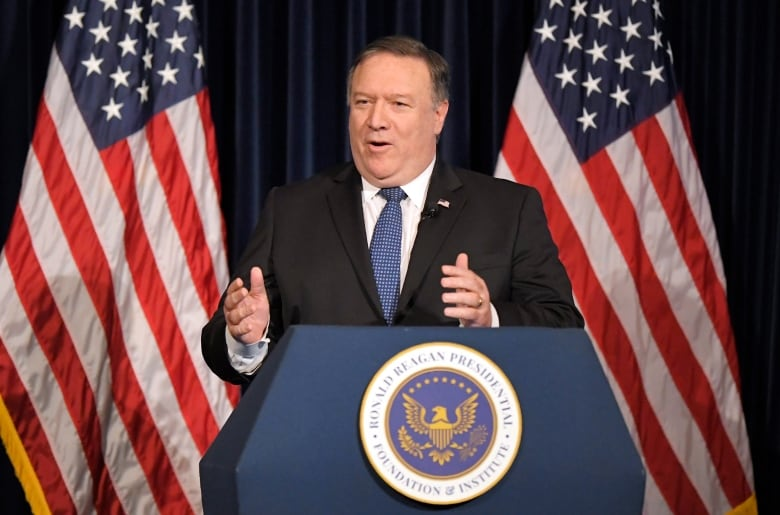 U. S. Secretary of State Mike Pompeo speaks at the Ronald Reagan Presidential Library on Sunday in Simi Valley, Calif.(Mark J. Terrill/Associated Press)
