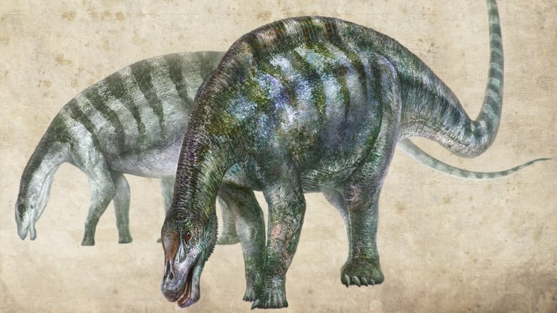 An Artist's View Shows Lingwulong Shenqi, a Sauropod Dinosaur Found in China