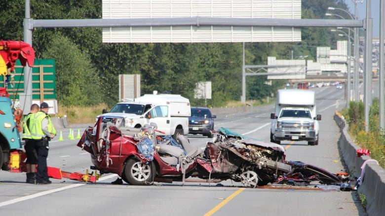 Traffic Snarled On Highway 1 In Surrey B C Due To Collision Cbc