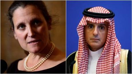 Chrystia Freeland and Adel al-Jubeir