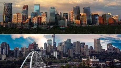 Edmonton skyline Calgary skyline