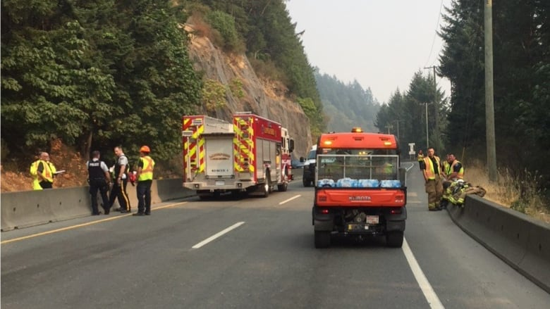 Malahat Highway reopened after deadly crash, sewage spill   CBC News