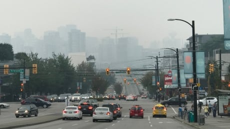 Air Pollution Quality Vancouver Looking over Cambie St