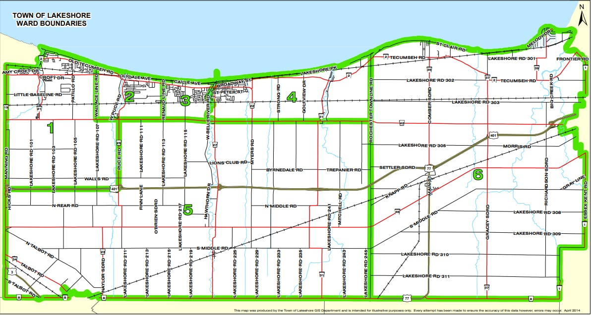 Image result for municipality of lakeshore ward map