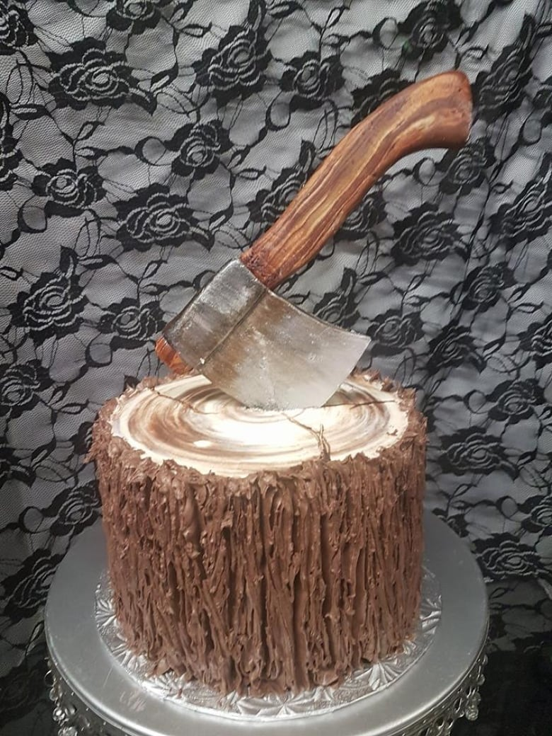 While Some Of Sinfully Sweets Cake Decorations Are More Elaborate Including This Axe Embedded In A Tree We Would Keep It Simple For Our