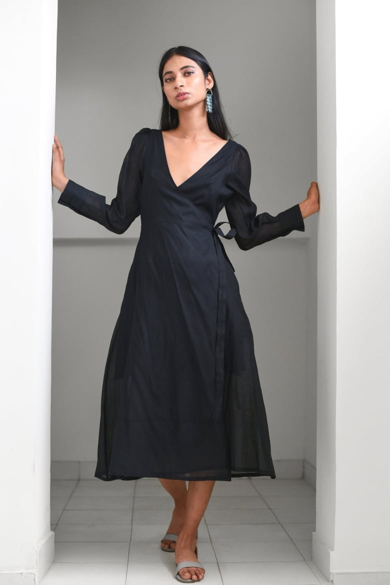 c6a505199c90 ... and then sources her fabrics and produces her pieces in Jaipur, India.  Made with the softest, lightweight cotton silk, this versatile wrap dress  can go ...
