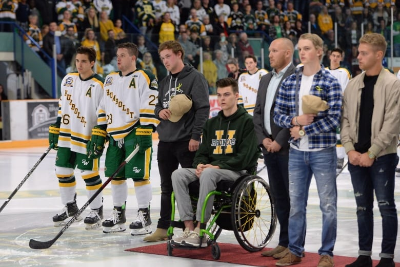 c292d5412 ... participated in the ceremonial puck drop. Some of their injuries were  still apparent. Goaltender Jacob Wassermann used a wheelchair to get onto  the ice.