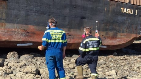 Work begins to remove cargo from grounded, potentially explosive fishing lodge in Haida Gwaii