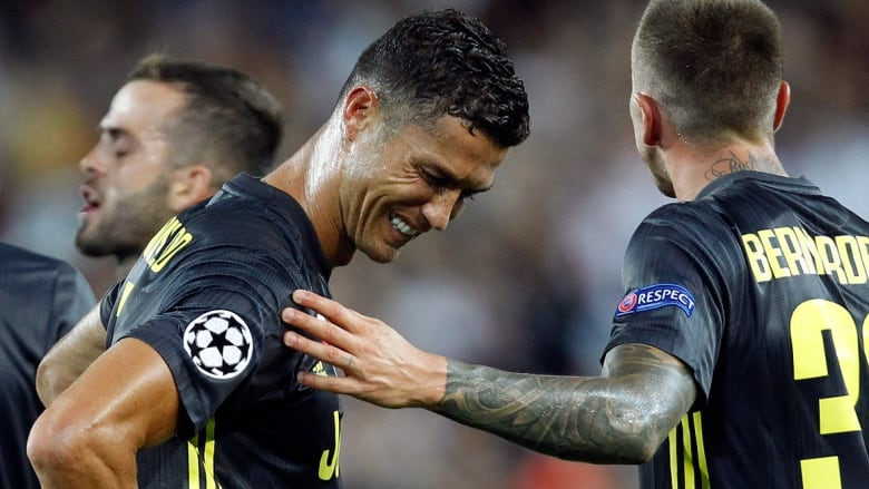 teary eyed ronaldo tossed in champions league debut for juventus