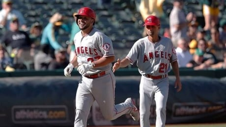 Angels' Arcia 1st to catch, pitch and homer in same game