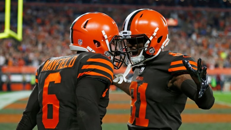 e63e320ee02 Cleveland Browns quarterback Baker Mayfield (6) and wide receiver Rashard  Higgins (81) celebrate a 2-point conversion during the second half on  Thursday ...
