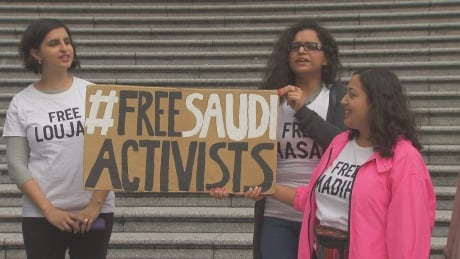 Demonstrators rally for UBC alumna detained in Saudi Arabia