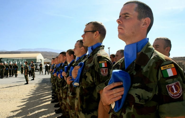 Irish UN peacekeeping soldiers take part in a ceremony in Lebanon in 2007. Ireland can point to an unbroken record of peacekeeping on some of the UN's toughest missions going back to 1958.(Ali Dia/AFP/Getty Images)