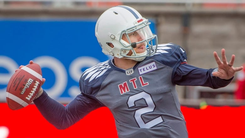5bfd3526ed Alouettes quarterback Johnny Manziel throws the ball down field during the  first half of the CFL team s 34-29 loss to Saskatchewan on Sunday.