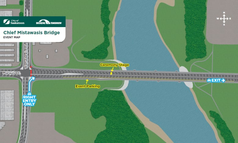 Parking Directions For Tuesdays Chief Mistawasis Bridge Ceremonies An Aerial View