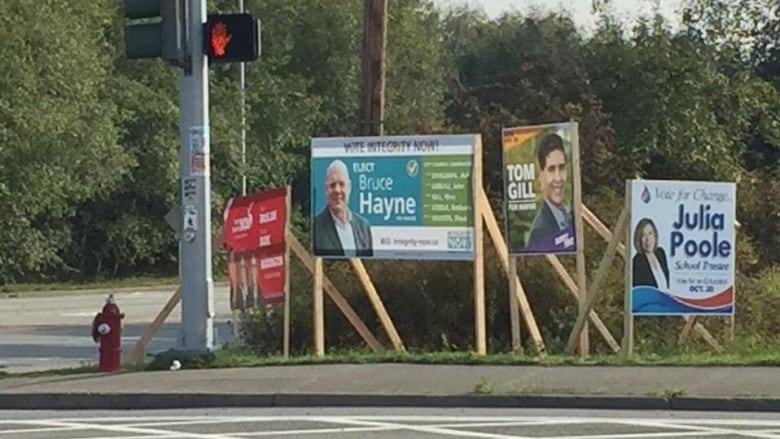 hundreds of election signs taken down in surrey cbc news