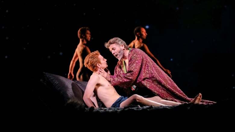 Isaiah Bell, left, and Thomas Hampson, right, share intimate scenes in the  Rufus Wainwright-composed opera, Hadrian. (Evan Mitsui/CBC). Forbidden  love. Sex.