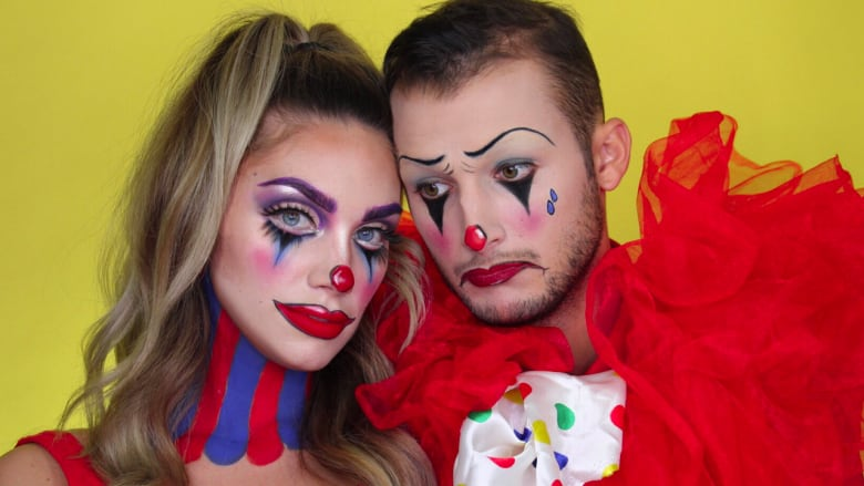 Clown around with this Halloween makeup tutorial for two \u2014 perfect for  couples, BFFs or any dress,up duo
