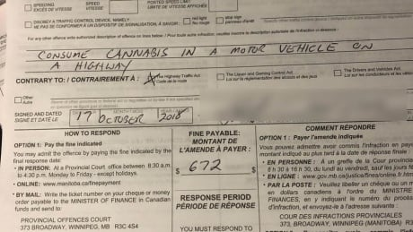 Winnipeg's 1st ticket for toking in a car issued 1 hour into legalization