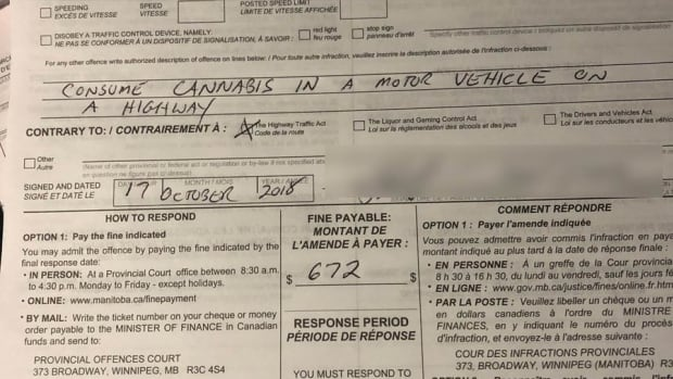 Winnipeg's 1st toking and driving ticket issued 1 hour into legalization