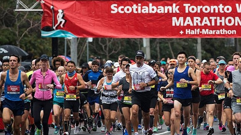 4709e56953 Sunday's 29th edition of the Toronto Waterfront marathon, half marathon and  five-kilometre event is expected to attract more than 25,000 runners from  over ...