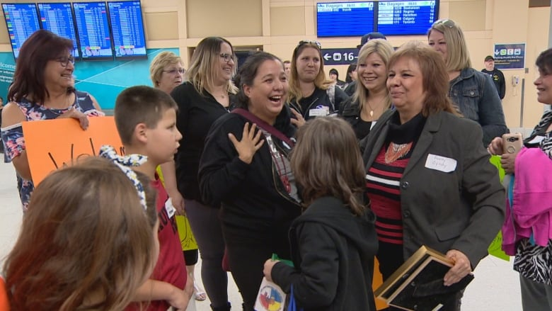 Long-separated mother and daughter reunite at Edmonton airport