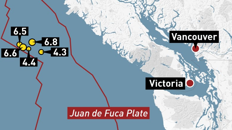 Several Earthquakes Strike Off Vancouver Island With No Reports Of