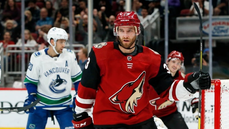 3845ee151 Arizona Coyotes defenceman Alex Goligoski (33) celebrates after scoring a  goal in the second period against the Vancouver Canucks.