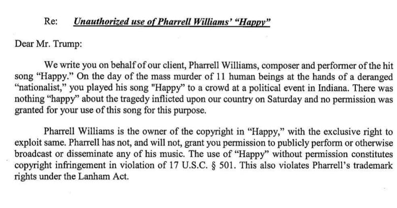 a portion of the cease and desist letter issued after the pharrell williams hit happy was used at a donald trump rally hours after worshipers and police