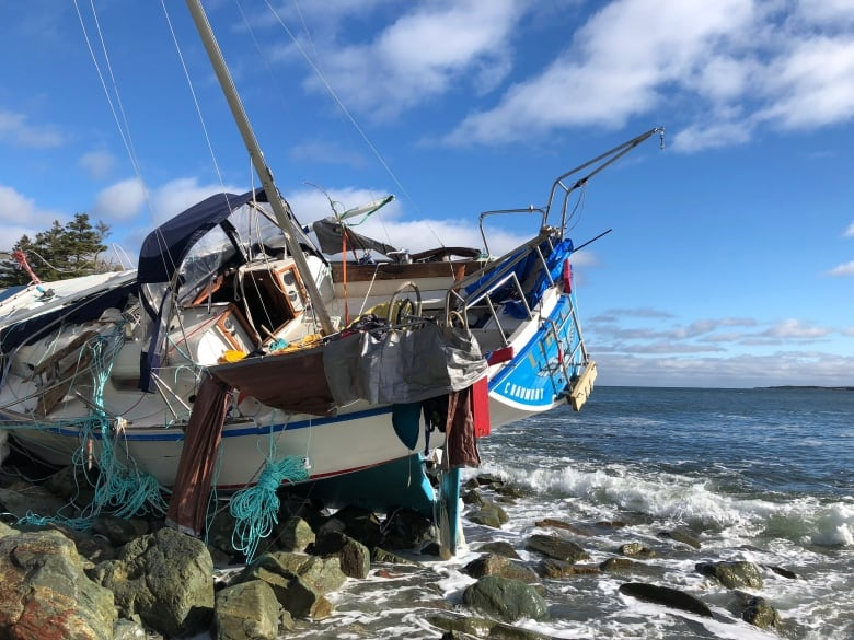 mystery sailboat washes up on cape breton coast