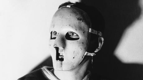 Jacques Plante is seen wearing a face mask in January 1960