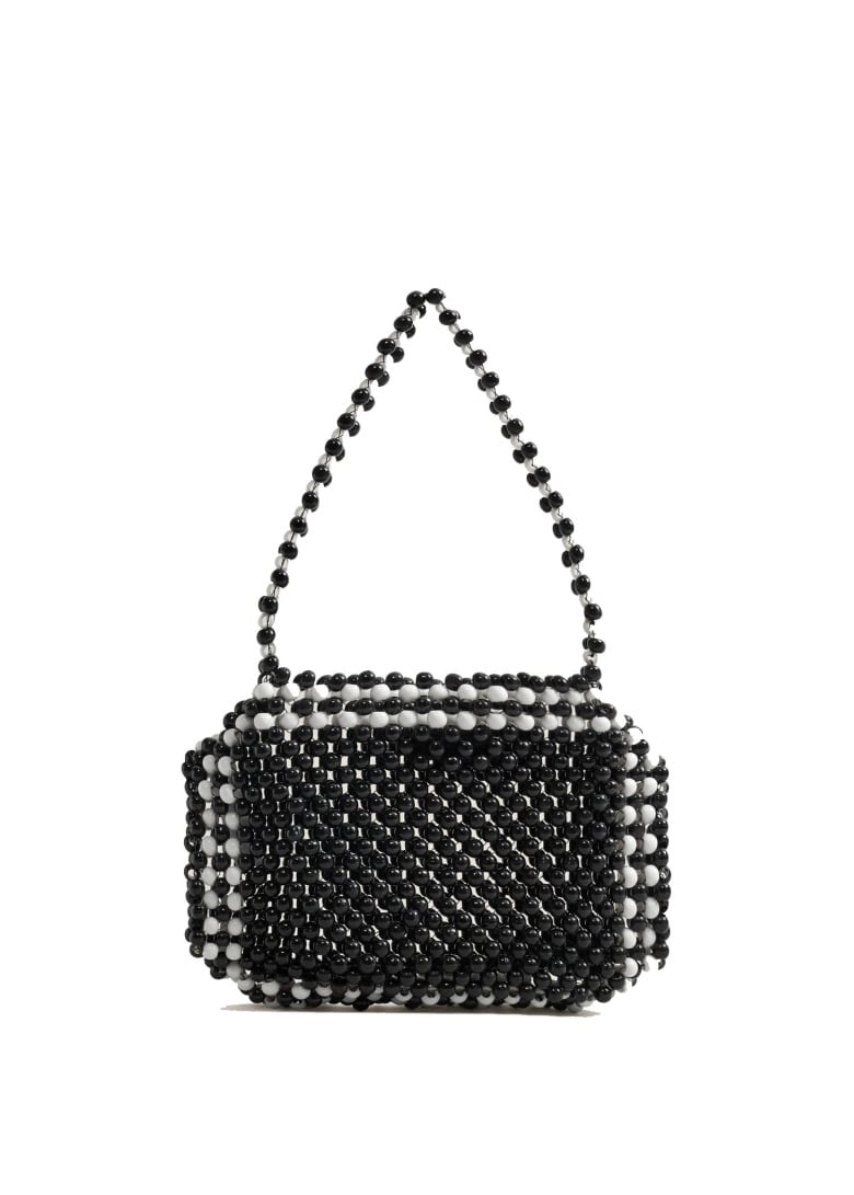 00a7beca62 '90s-inspired mini shoulder bags are making a comeback this season. Get  that trendy design in a classic black-and-white colour combo with this  beaded purse.