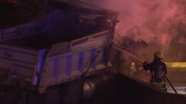 Truck driver killed in fiery crash on Highway 1 in Surrey