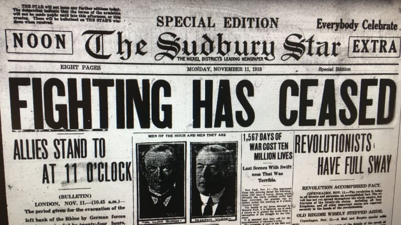 a look back at newspaper headlines on nov 11 1918 cbc news. Black Bedroom Furniture Sets. Home Design Ideas