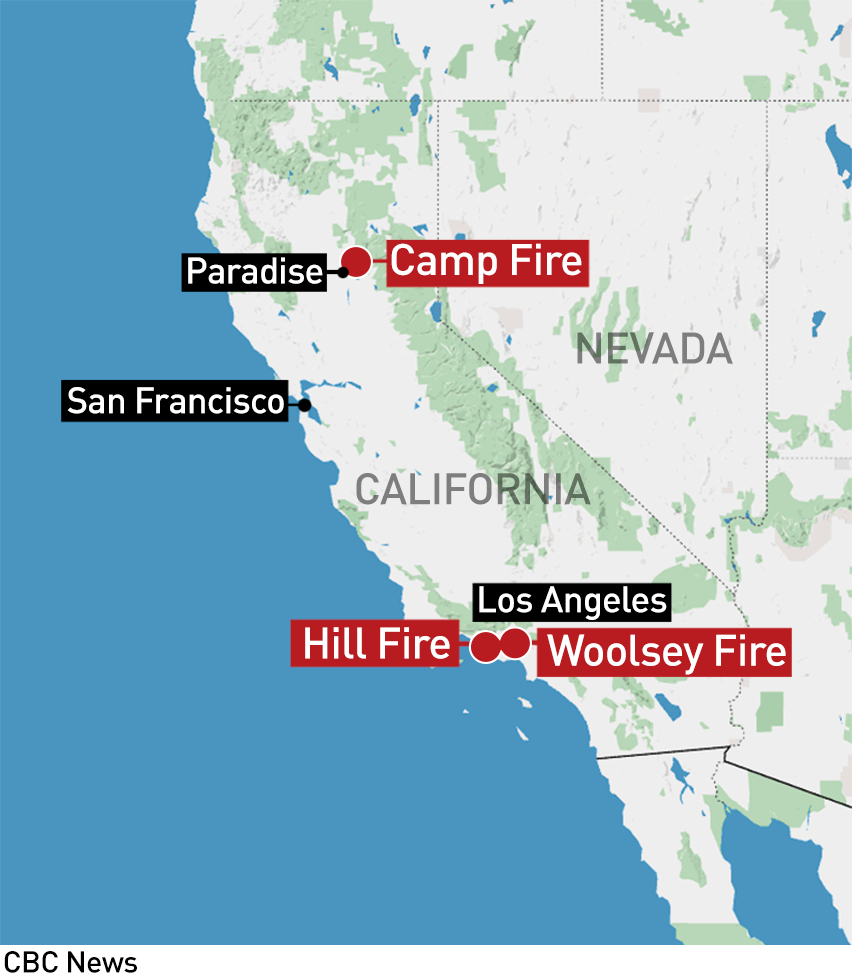 Paradise California Map.Northern California Wildfire Now Deadliest In State History Cbc News