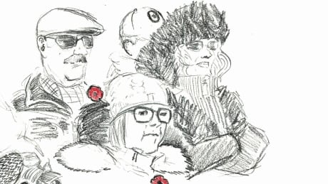 Sketches from Remembrance Day at the National War Memorial   CBC
