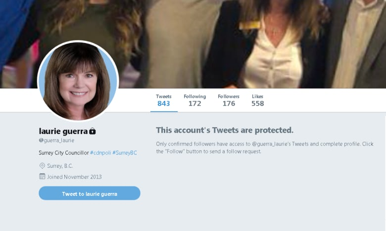 Surrey councillor Laurie Guerra's private Twitter account called into question