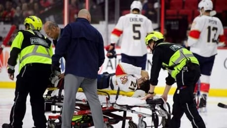 Warning, Graphic Content:  Panthers Trocheck suffers gruesome leg injury