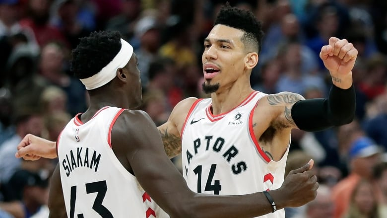 Toronto Raptors Danny Green (14) celebrates his game-winning shot against  the Orlando Magic with teammate Pascal Siakam (43) in the final seconds of  ...
