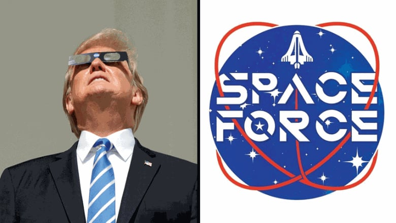 22642fe5c U.S. President Donald Trump, shown observing a solar eclipse in August  2017, has proposed creating a new military service called the 'Space Force.