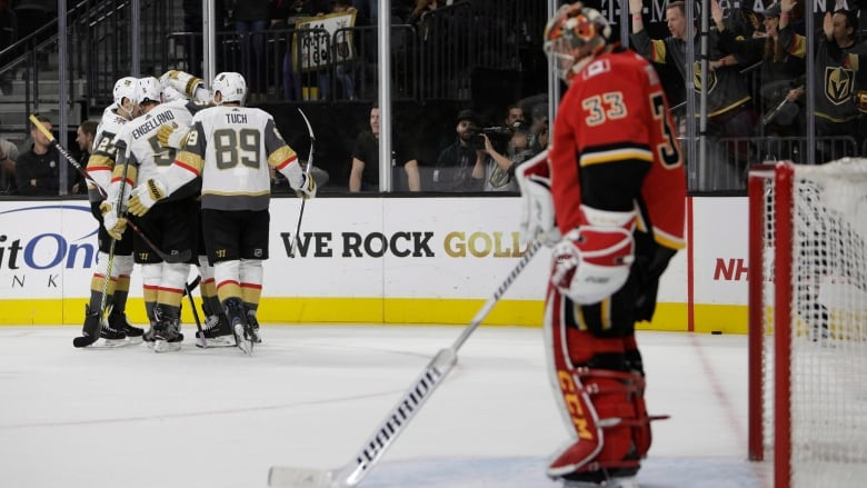 The Vegas Golden Knights celebrate after right wing Alex Tuch (89) scored a  goal against the Calgary Flames during the second period. 7aa51ae12