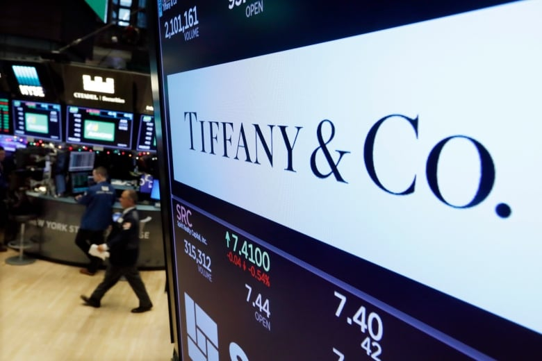 6deae7d27b3b The logo for Tiffany   Co. appears above a post on the floor of the New  York Stock Exchange