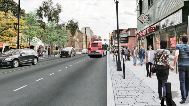 the city says the elgin street redesign will include 'ample' bicycle  parking  the redesign will reduce car parking from 120 to 90 spaces  (city  of ottawa)