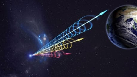 An artist's illustration shows the signal from a fast radio burst zooming its way toward Earth.