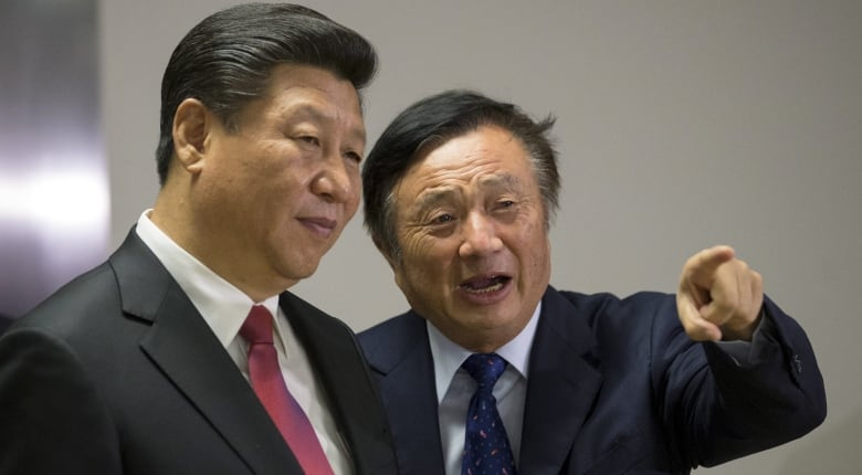 Huawei President Ren Zhengfei, right, has been accused of having ties to the Chinese government, led by President Xi Jinping, left. (Matthew Lloyd/Reuters)